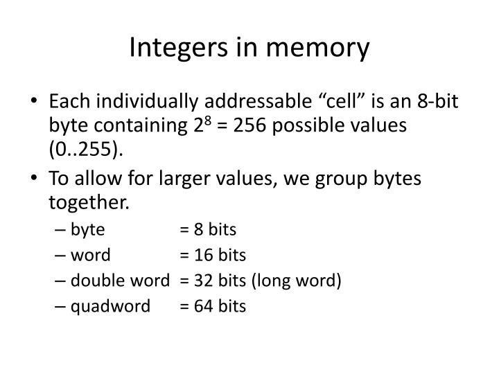 Integers in memory
