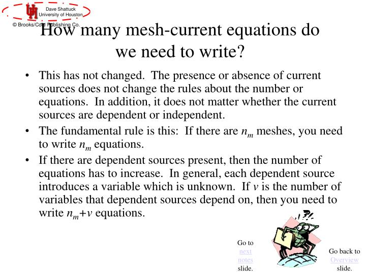 How many mesh-current equations do we need to write?