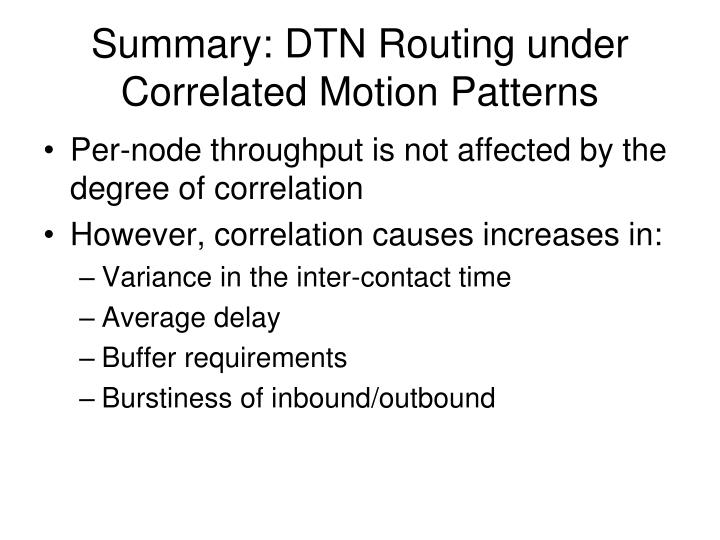 Summary: DTN Routing under Correlated Motion Patterns