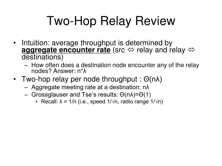 Two-Hop Relay Review