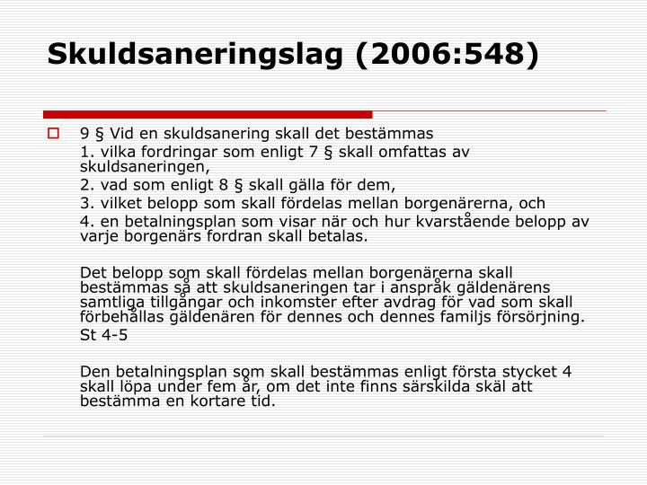 Skuldsaneringslag (2006:548)