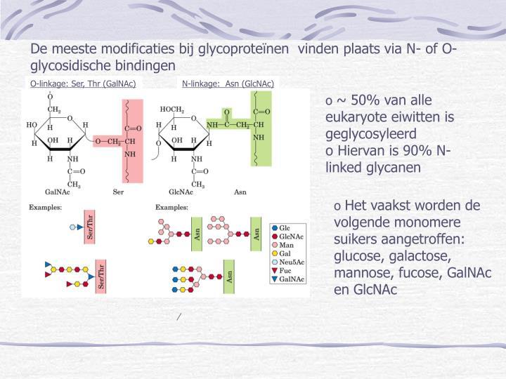 De meeste modificaties bij glycoproteïnen  vinden plaats via N- of O-glycosidische bindingen