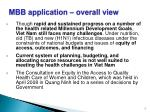 mbb application overall view