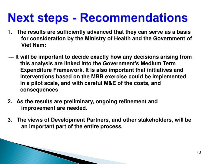 Next steps - Recommendations