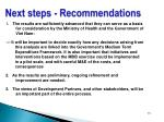 next steps recommendations