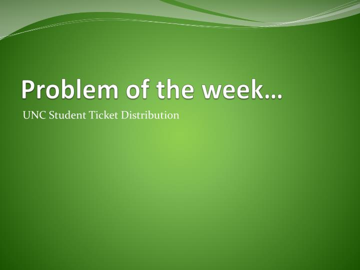 Problem of the week…