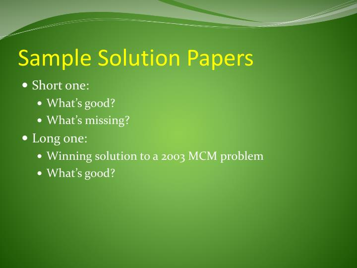 Sample Solution Papers