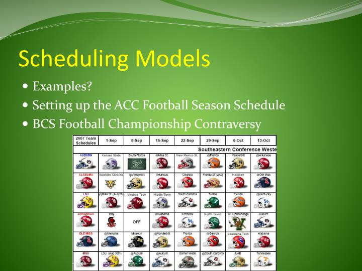 Scheduling Models
