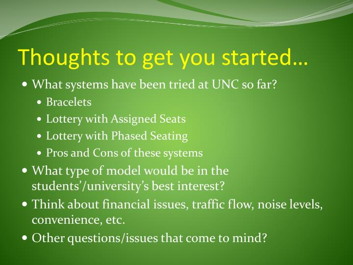 Thoughts to get you started…