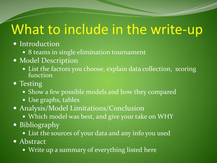 What to include in the write-up