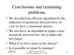 conclusions and remaining problems