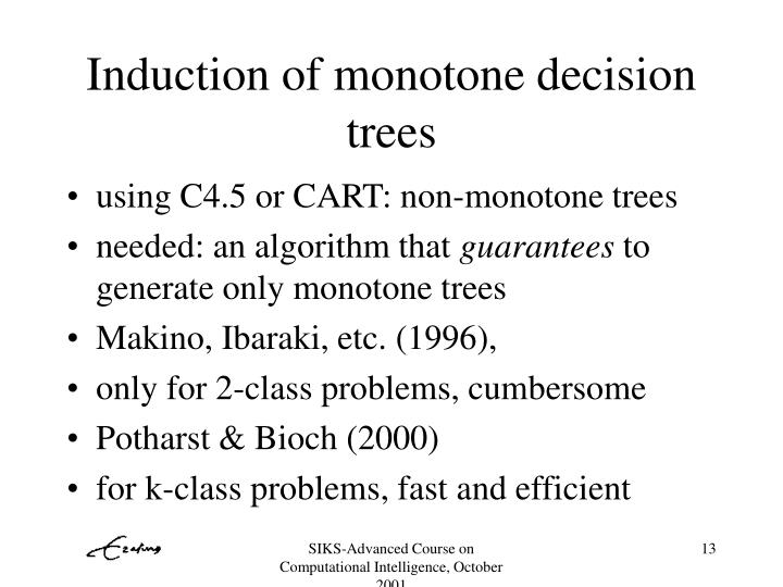 Induction of monotone decision trees