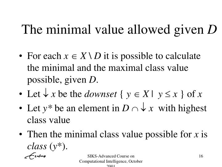 The minimal value allowed given