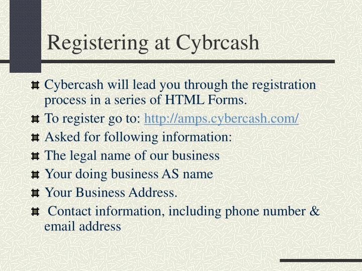 Registering at Cybrcash