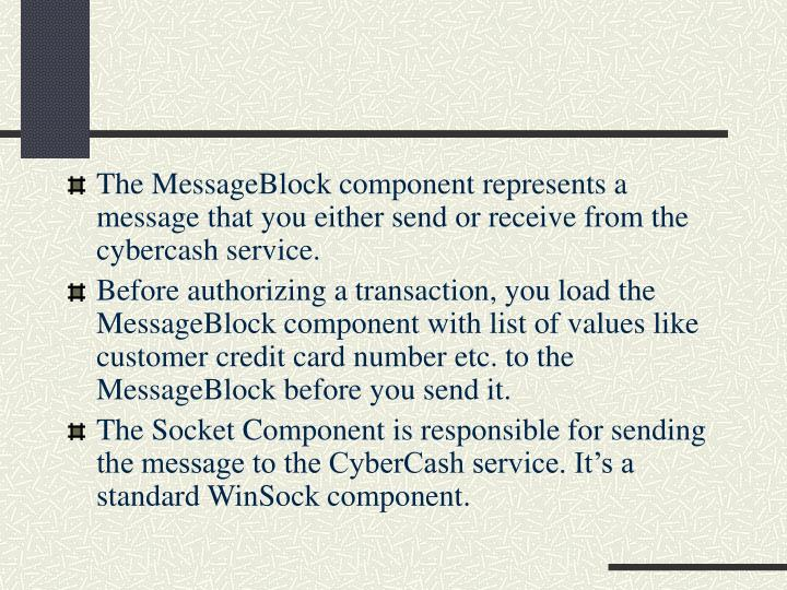 The MessageBlock component represents a message that you either send or receive from the cybercash service.