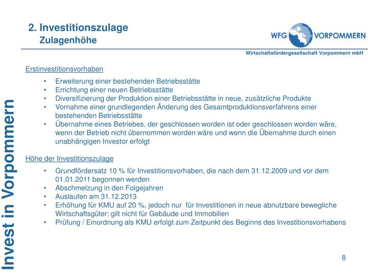 2. Investitionszulage