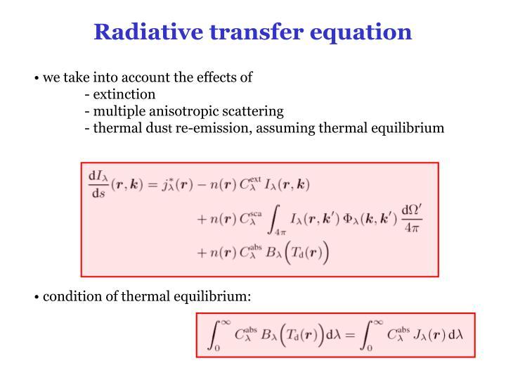 Radiative transfer equation