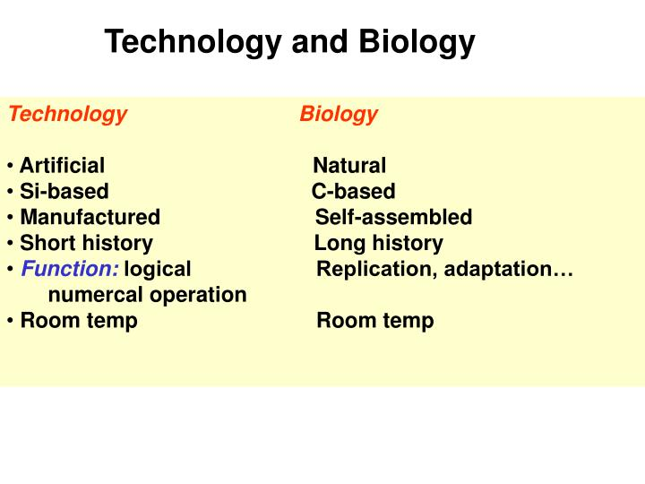 Technology and Biology