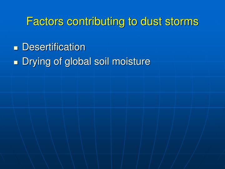 Factors contributing to dust storms