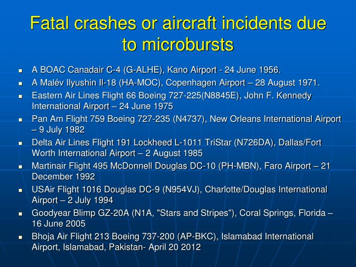 Fatal crashes or aircraft incidents due to microbursts