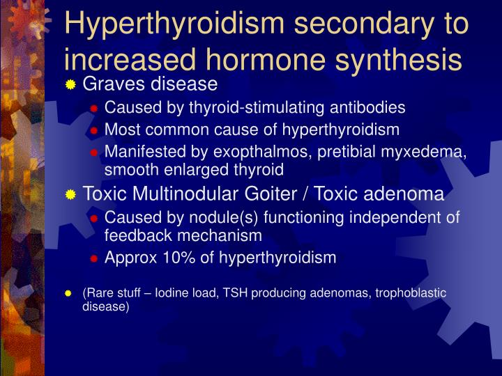 Hyperthyroidism secondary to increased hormone synthesis