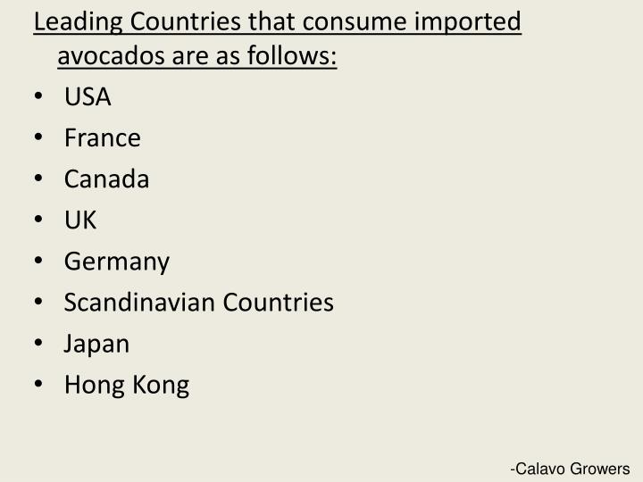 Leading Countries that consume imported avocados are as follows: