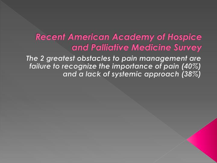 Recent American Academy of Hospice and Palliative Medicine Survey
