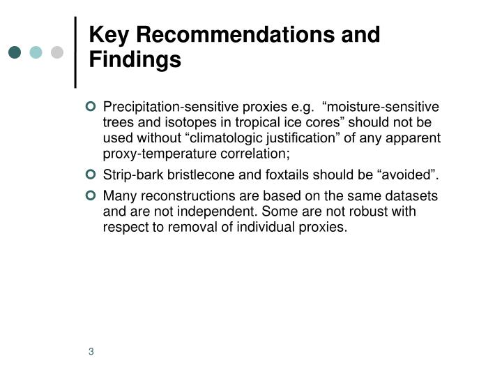 Key recommendations and findings