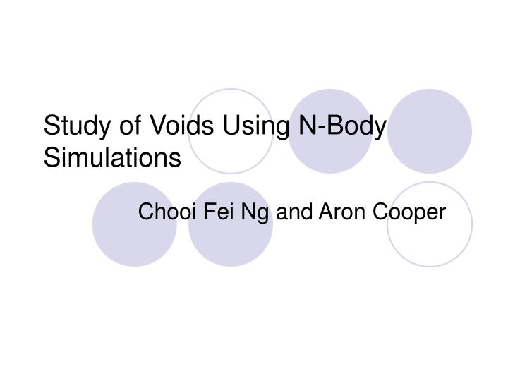 Study of Voids Using N-Body Simulations