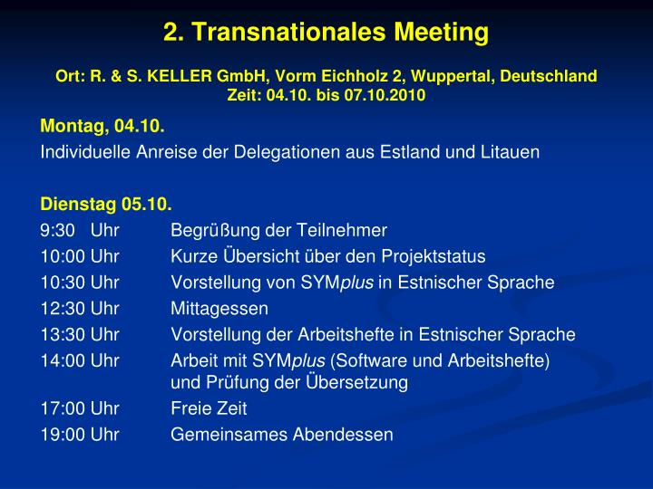 2. Transnationales Meeting