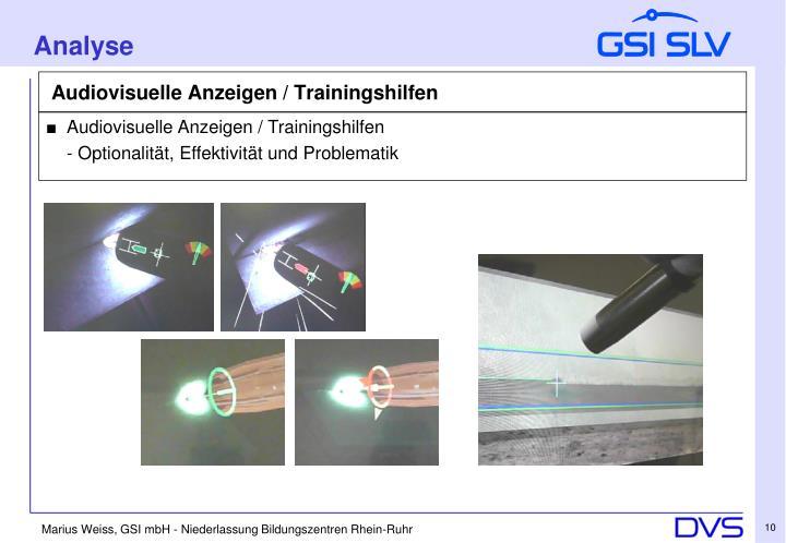Audiovisuelle Anzeigen / Trainingshilfen