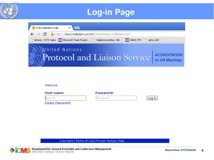 Log-in Page