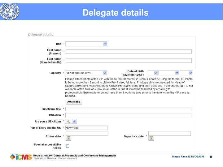 Delegate details