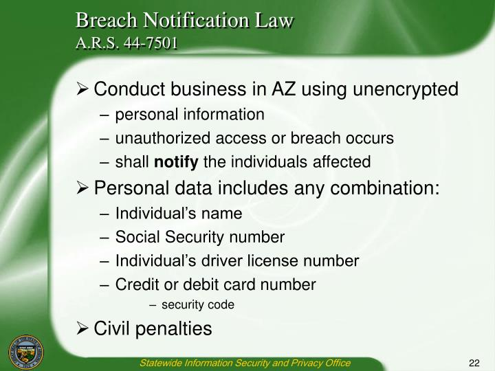 Breach Notification Law