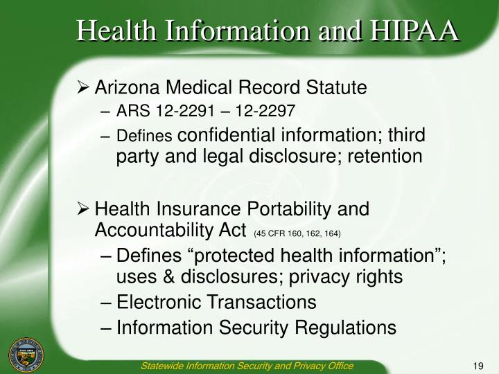Health Information and HIPAA
