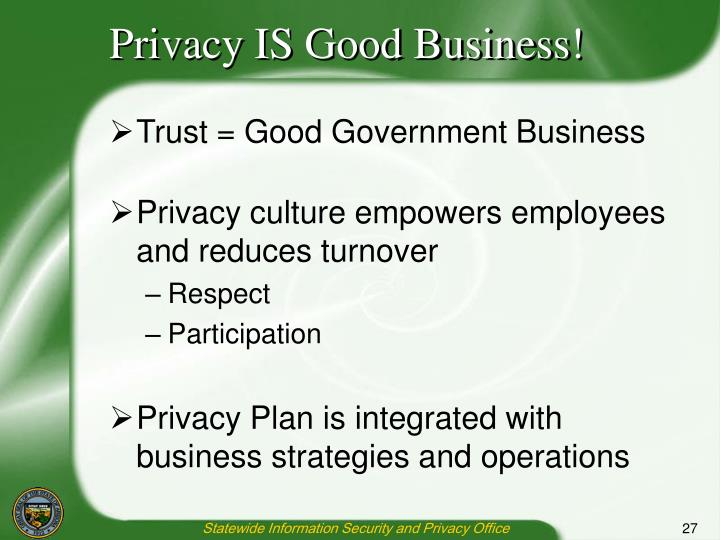 Privacy IS Good Business!