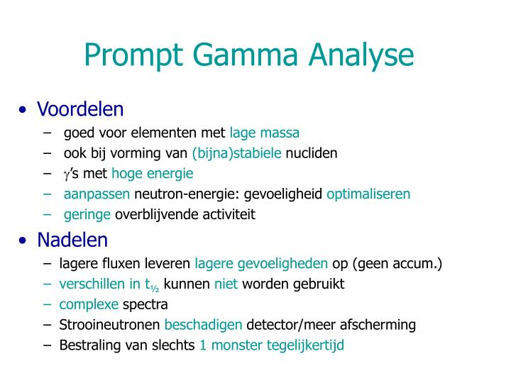 Prompt Gamma Analyse