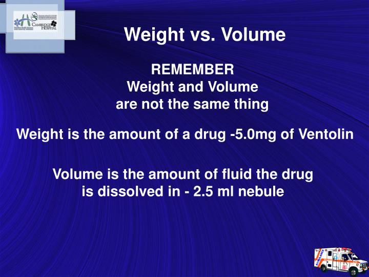 Weight vs. Volume