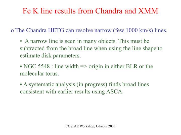 Fe K line results from Chandra and XMM