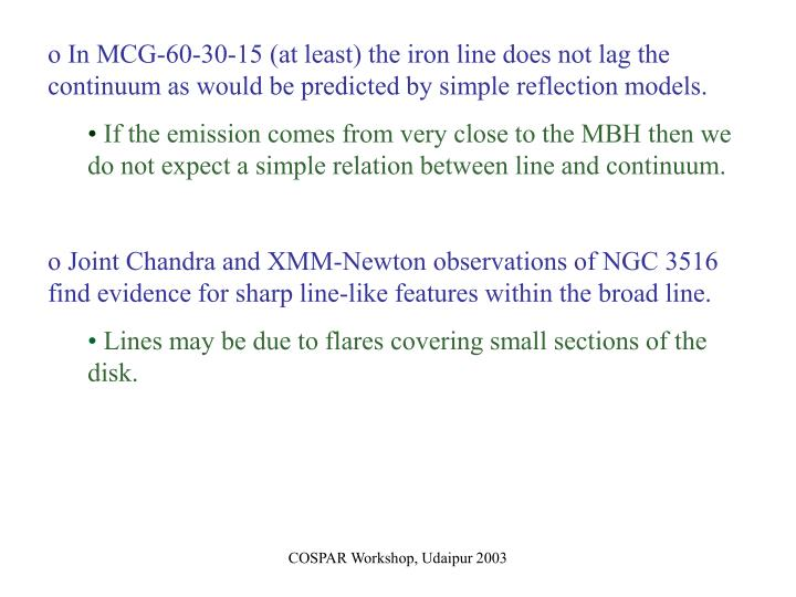 In MCG-60-30-15 (at least) the iron line does not lag the continuum as would be predicted by simple reflection models.