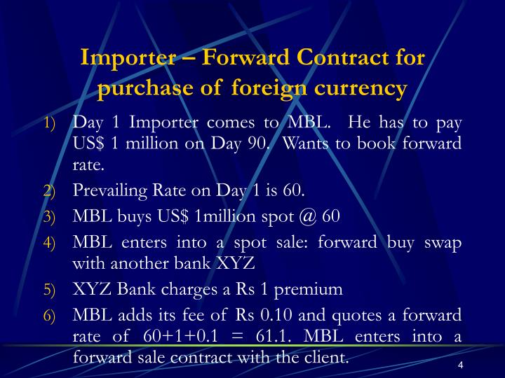 Importer – Forward Contract for purchase of foreign currency
