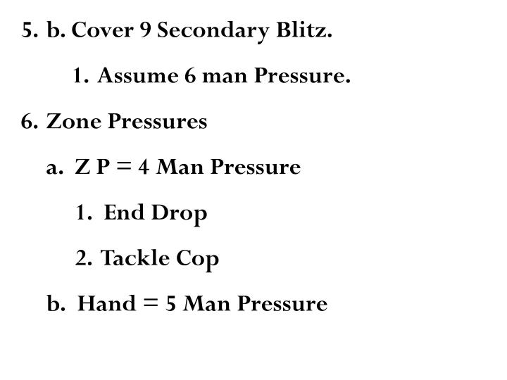 b. Cover 9 Secondary Blitz.