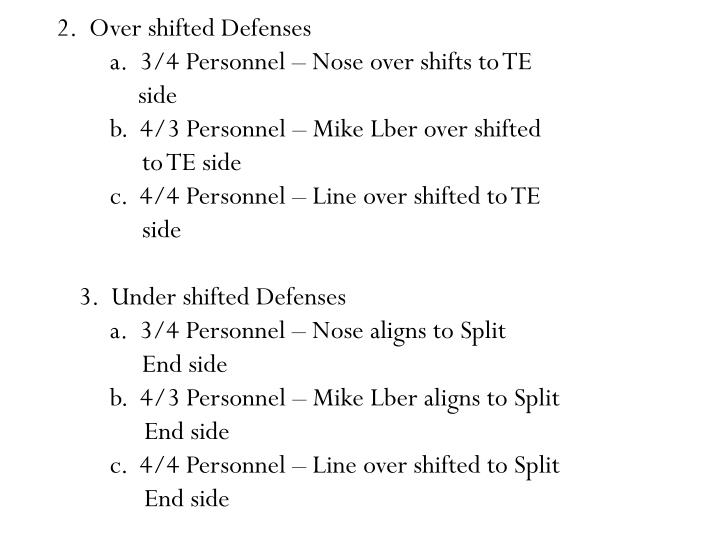 2.  Over shifted Defenses