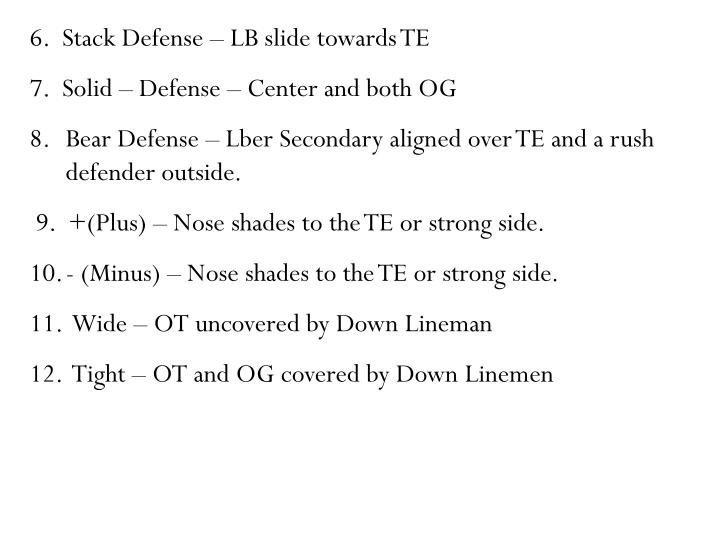 6.  Stack Defense – LB slide towards TE