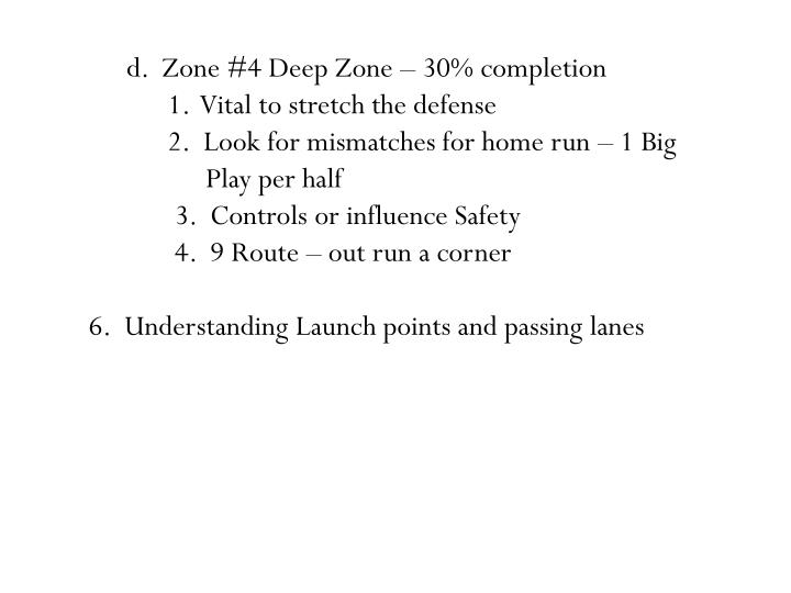 d.  Zone #4 Deep Zone – 30% completion