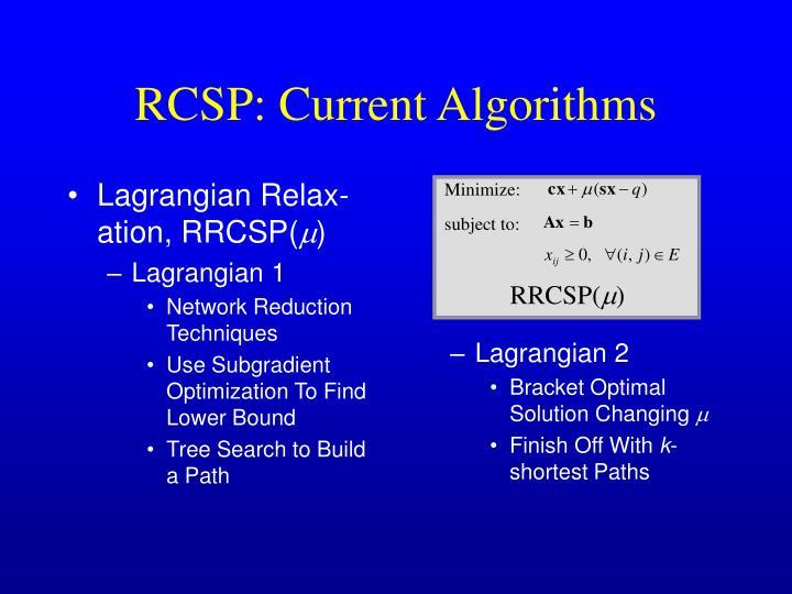 Lagrangian Relax-ation, RRCSP(