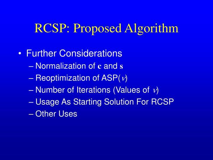 RCSP: Proposed Algorithm