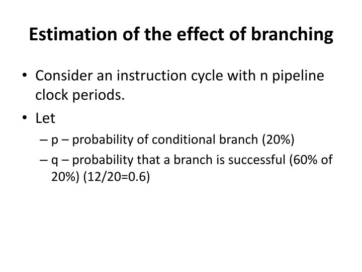 Estimation of the effect of branching