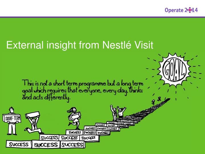 External insight from Nestlé Visit