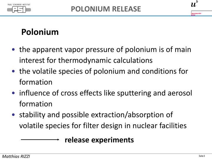 POLONIUM RELEASE